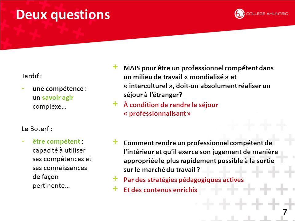 2014-06-187 Deux questions 7 + MAIS pour être un professionnel compétent dans un milieu de travail « mondialisé » et « interculturel », doit-on absolu