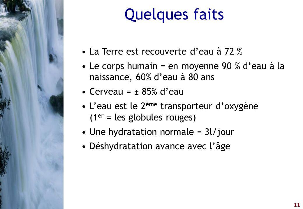 11 •La Terre est recouverte d'eau à 72 % •Le corps humain = en moyenne 90 % d'eau à la naissance, 60% d'eau à 80 ans •Cerveau = ± 85% d'eau •L'eau est