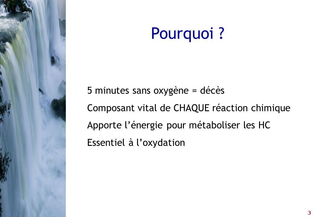 3 Pourquoi ? 5 minutes sans oxygène = décès Composant vital de CHAQUE réaction chimique Apporte l'énergie pour métaboliser les HC Essentiel à l'oxydat