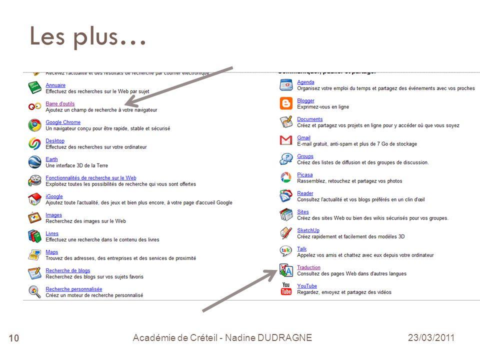 Académie de Créteil - Nadine DUDRAGNE 10 Les plus… 23/03/2011