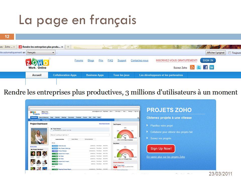 La page en français 24/03/2010 Académie de Créteil - Nadine DUDRAGNE 12 23/03/2011