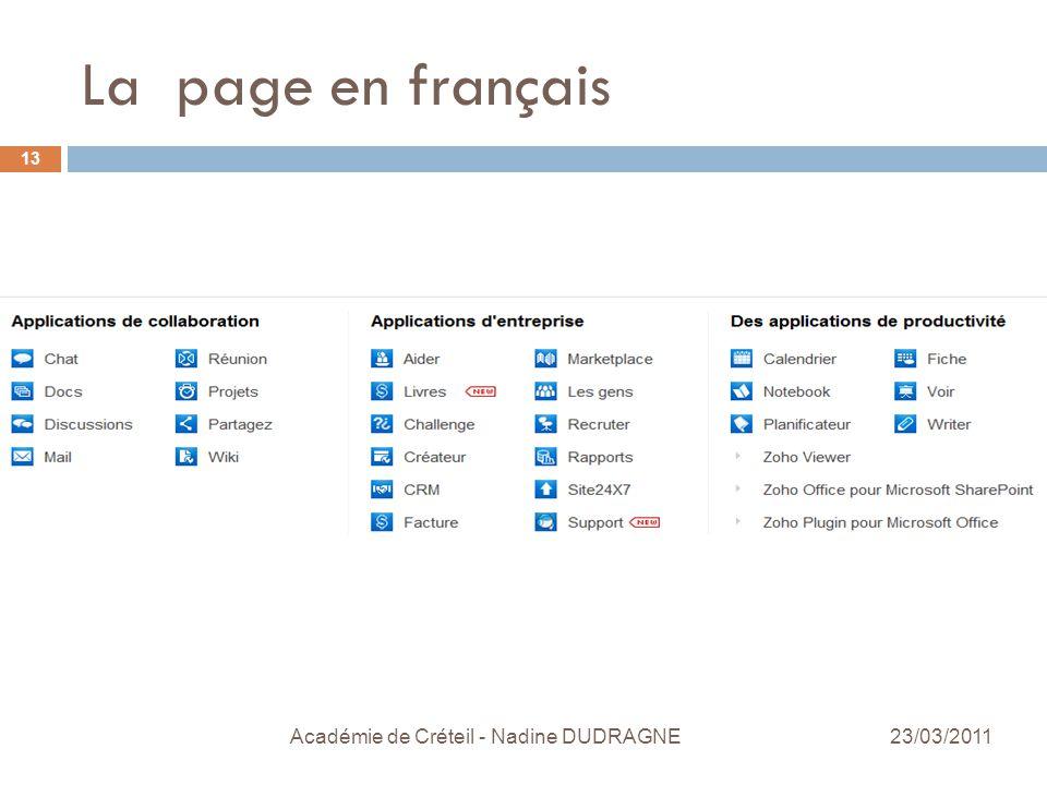 La page en français 23/03/2011 Académie de Créteil - Nadine DUDRAGNE 13