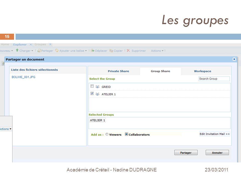 Les groupes Académie de Créteil - Nadine DUDRAGNE 15 23/03/2011