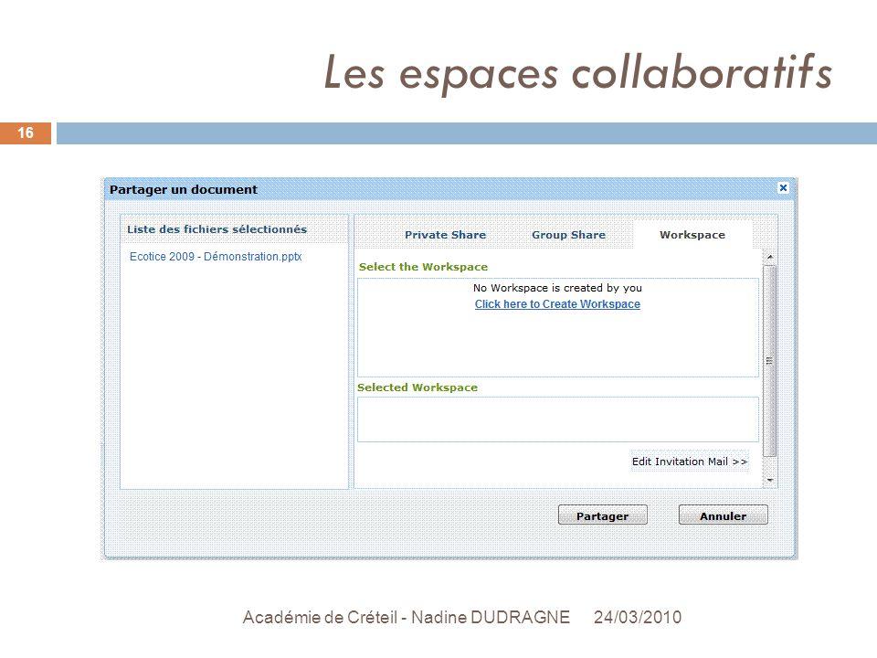 Les espaces collaboratifs 24/03/2010 Académie de Créteil - Nadine DUDRAGNE 16