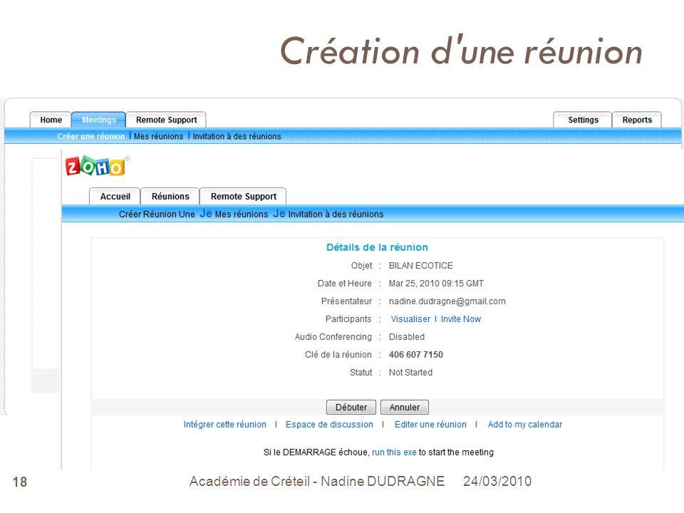 24/03/2010 Académie de Créteil - Nadine DUDRAGNE 18 Création d une réunion