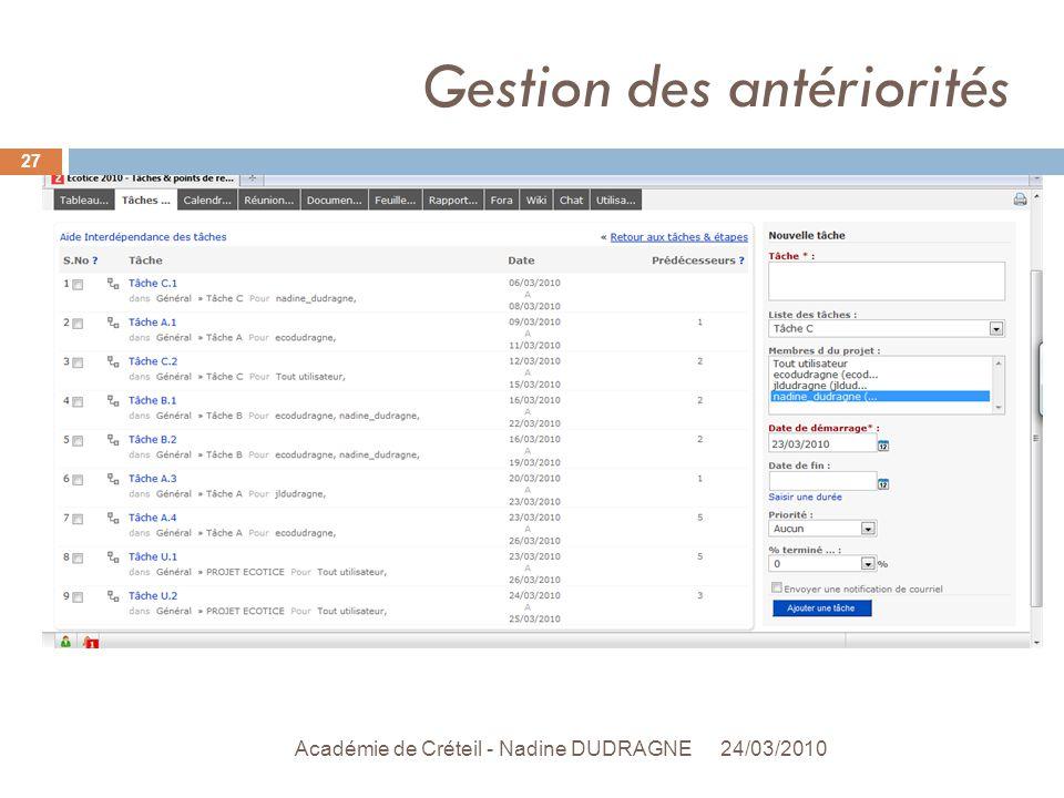 Gestion des antériorités 24/03/2010 Académie de Créteil - Nadine DUDRAGNE 27