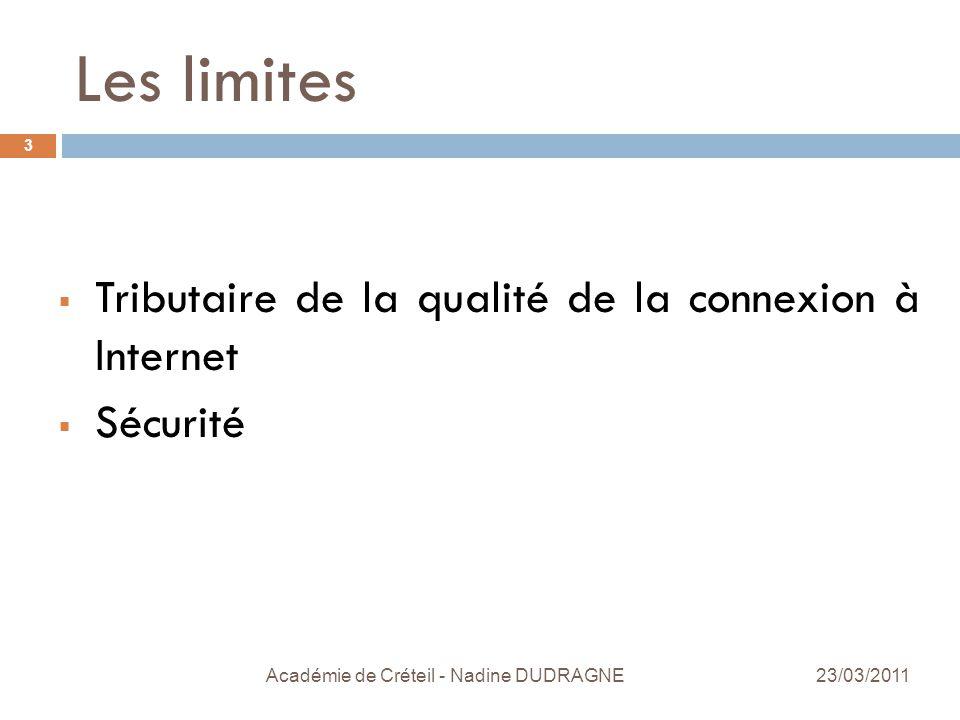 Les limites Académie de Créteil - Nadine DUDRAGNE 3  Tributaire de la qualité de la connexion à Internet  Sécurité 23/03/2011