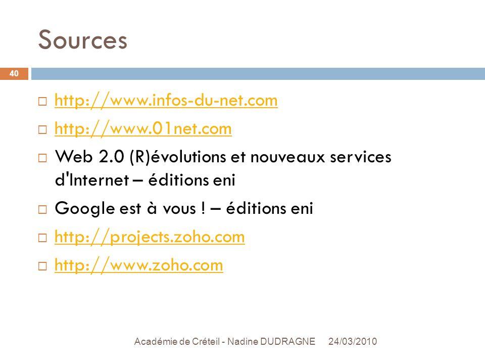 Sources 24/03/2010 Académie de Créteil - Nadine DUDRAGNE 40  http://www.infos-du-net.com http://www.infos-du-net.com  http://www.01net.com http://www.01net.com  Web 2.0 (R)évolutions et nouveaux services d Internet – éditions eni  Google est à vous .