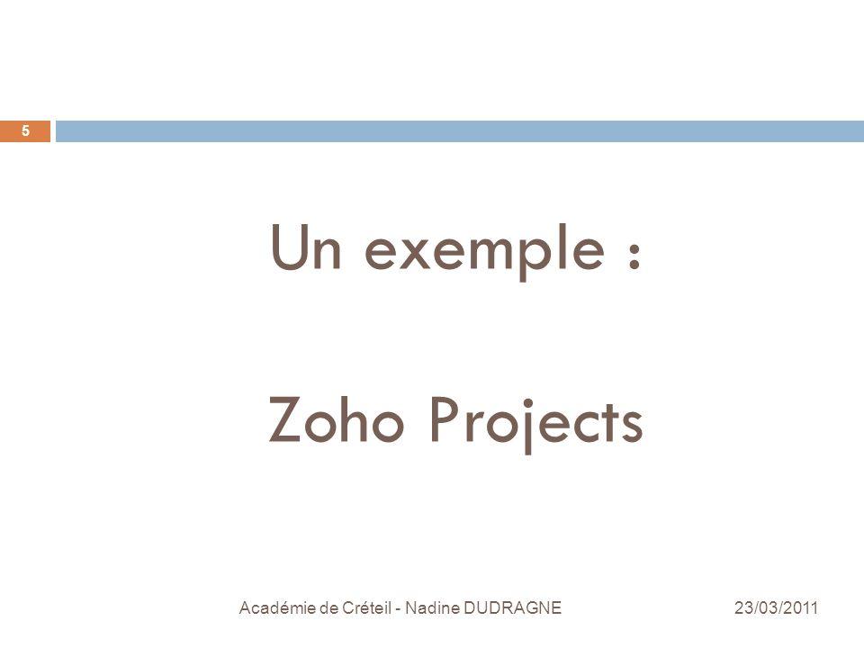 Un exemple : Zoho Projects Académie de Créteil - Nadine DUDRAGNE 5 23/03/2011