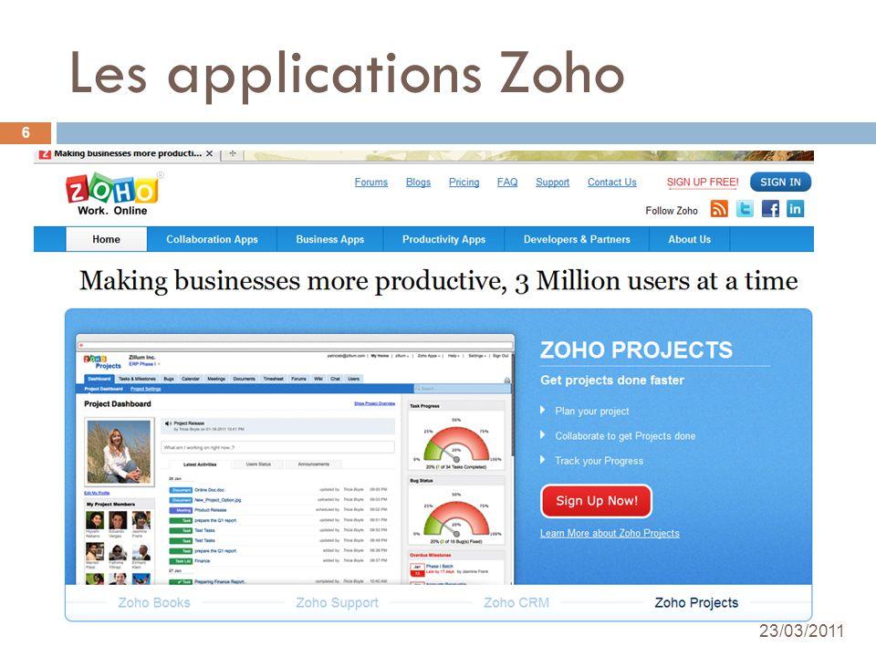 Les applications Zoho 24/03/2010 Académie de Créteil - Nadine DUDRAGNE 6 23/03/2011
