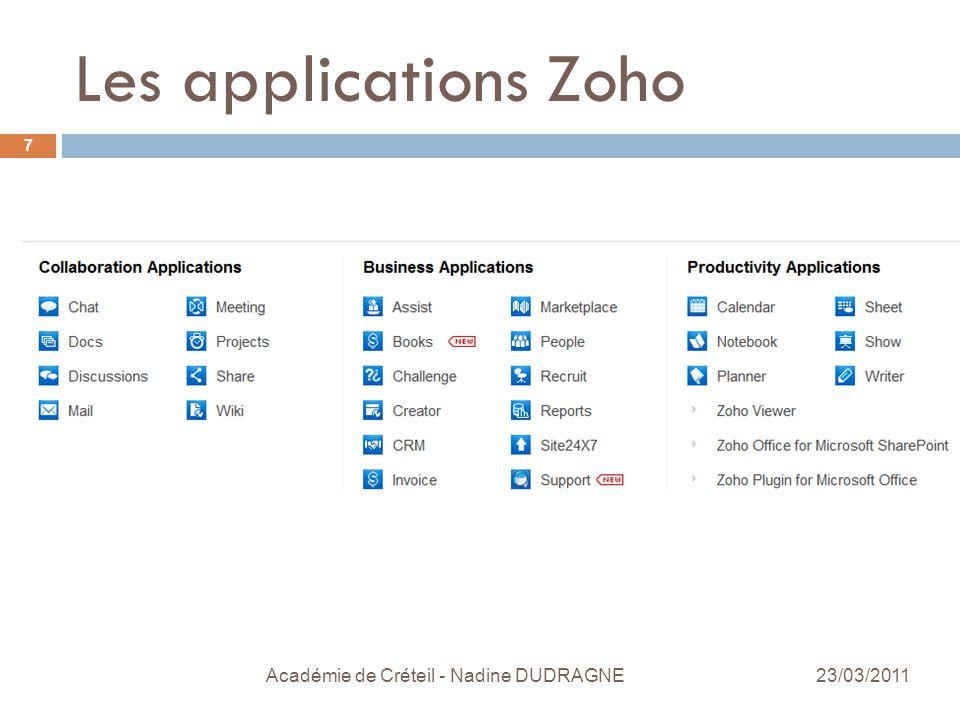 Les applications Zoho Académie de Créteil - Nadine DUDRAGNE 7 23/03/2011