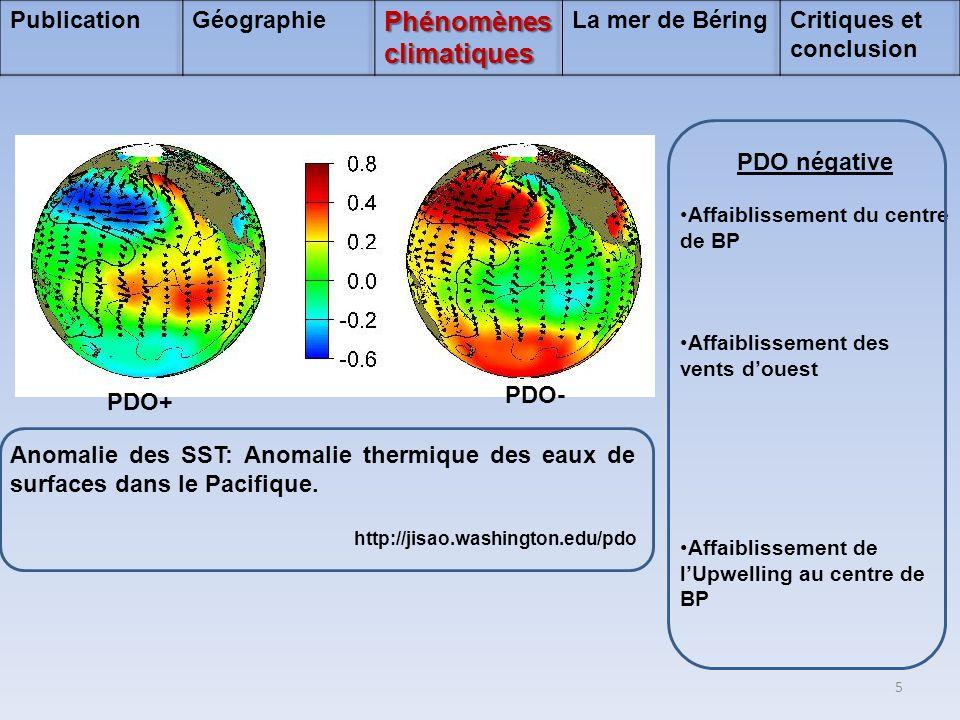PDO négative •Affaiblissement du centre de BP •Affaiblissement des vents d'ouest •Affaiblissement de l'Upwelling au centre de BP PDO+ PDO- Anomalie de