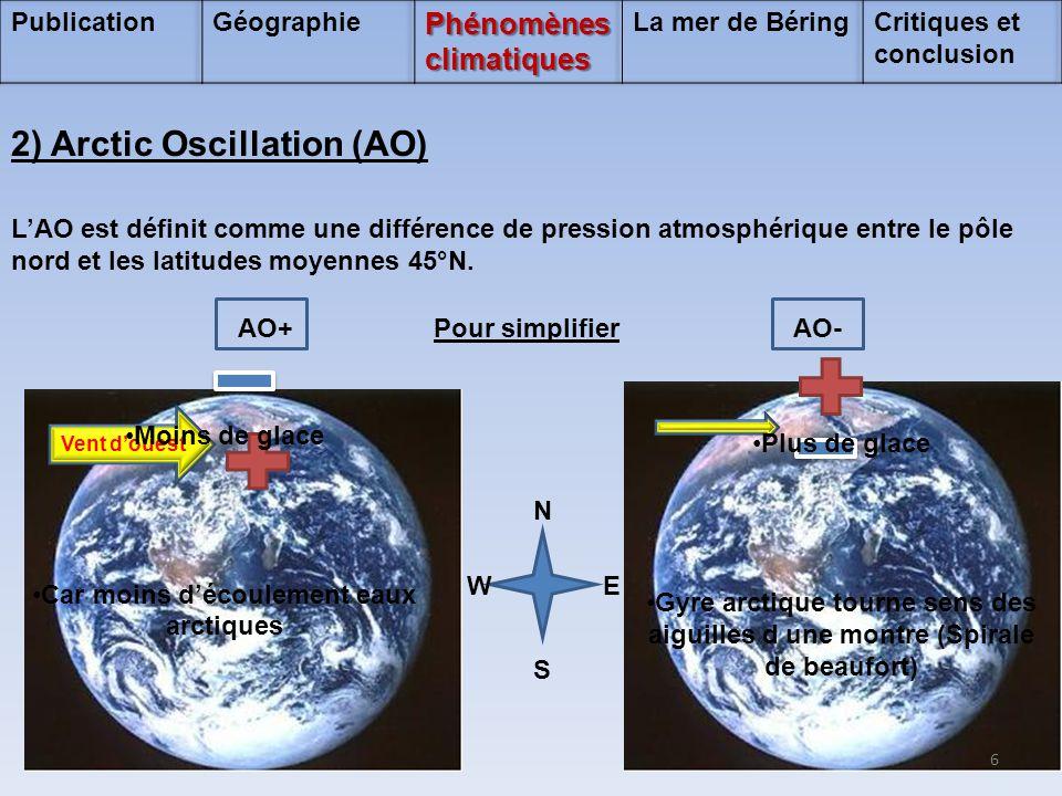 NSNS L'AO est définit comme une différence de pression atmosphérique entre le pôle nord et les latitudes moyennes 45°N. 2) Arctic Oscillation (AO) AO+