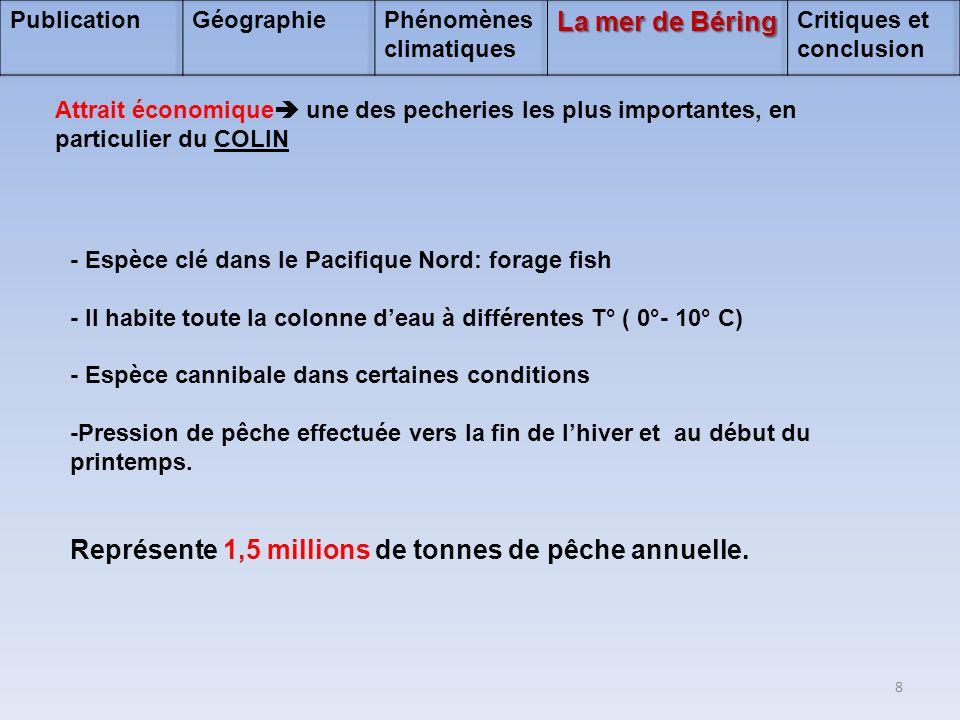 - Espèce clé dans le Pacifique Nord: forage fish - Il habite toute la colonne d'eau à différentes T° ( 0°- 10° C) - Espèce cannibale dans certaines co