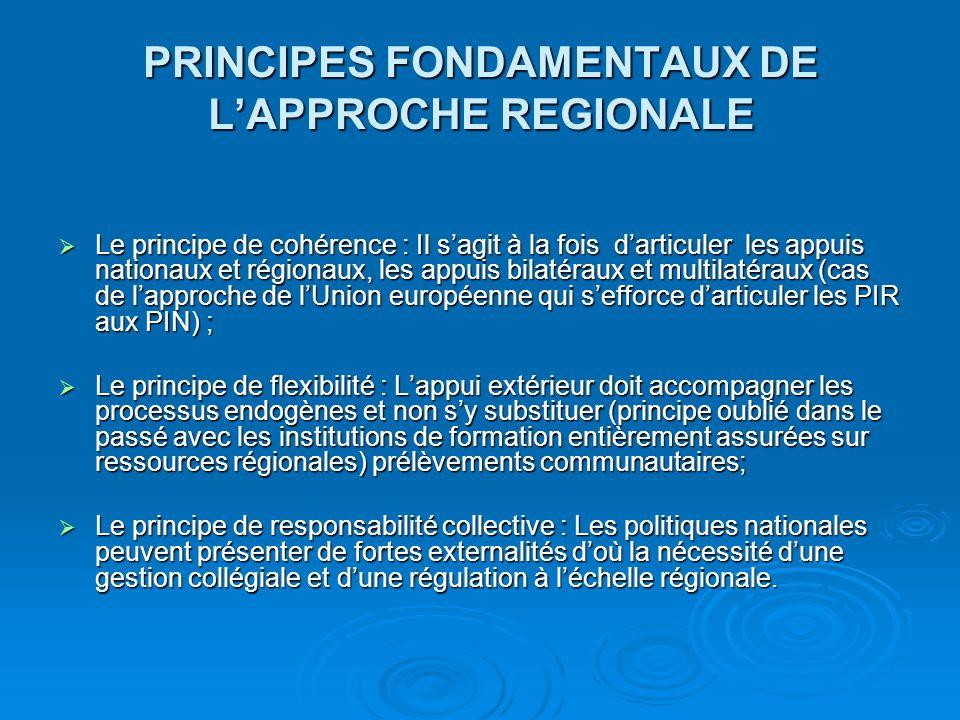 PRINCIPES FONDAMENTAUX DE L'APPROCHE REGIONALE  Le principe de cohérence : Il s'agit à la fois d'articuler les appuis nationaux et régionaux, les app