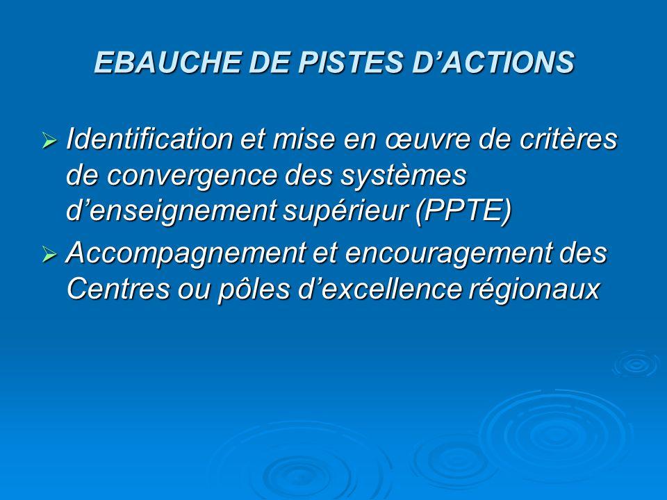 EBAUCHE DE PISTES D'ACTIONS  Identification et mise en œuvre de critères de convergence des systèmes d'enseignement supérieur (PPTE)  Accompagnement