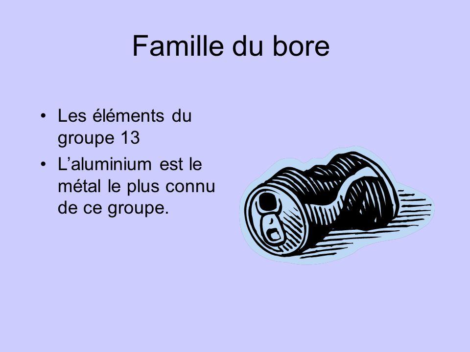 Famille du bore •Les éléments du groupe 13 •L'aluminium est le métal le plus connu de ce groupe.