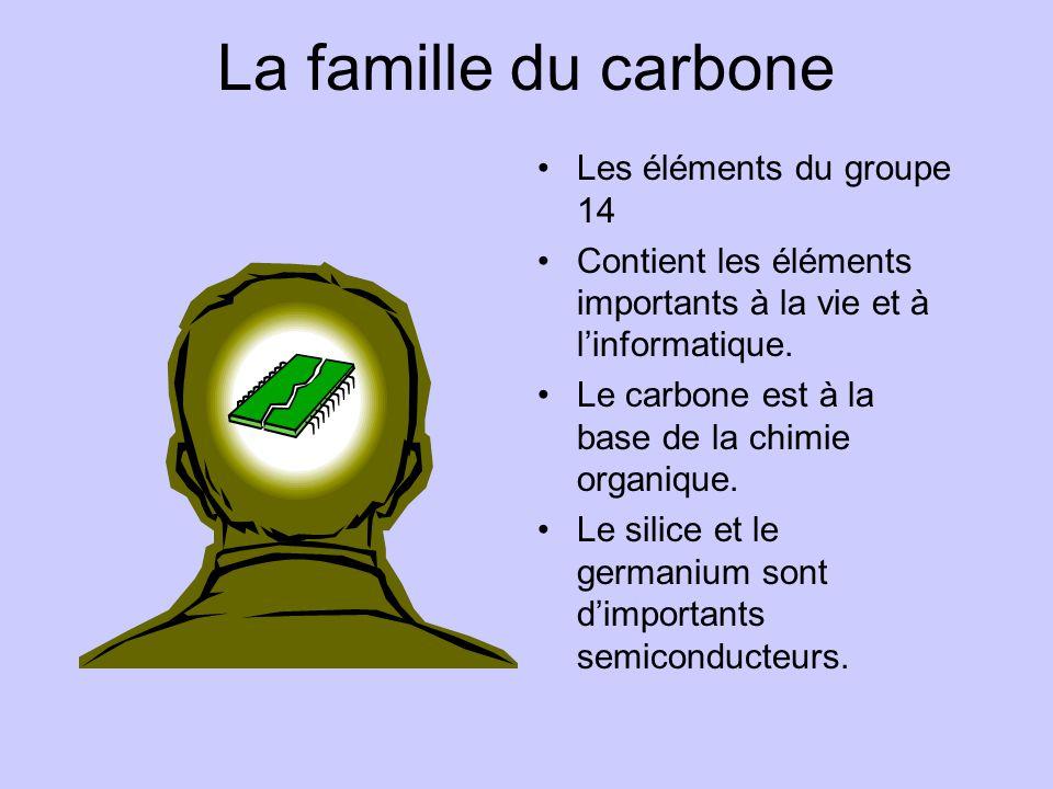 La famille du carbone •Les éléments du groupe 14 •Contient les éléments importants à la vie et à l'informatique. •Le carbone est à la base de la chimi