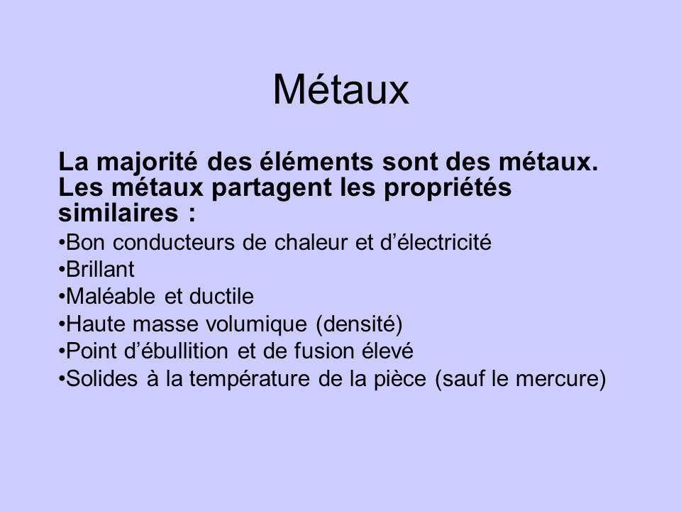 Métaux La majorité des éléments sont des métaux. Les métaux partagent les propriétés similaires : •Bon conducteurs de chaleur et d'électricité •Brilla