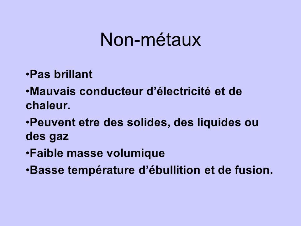 Non-métaux •Pas brillant •Mauvais conducteur d'électricité et de chaleur. •Peuvent etre des solides, des liquides ou des gaz •Faible masse volumique •