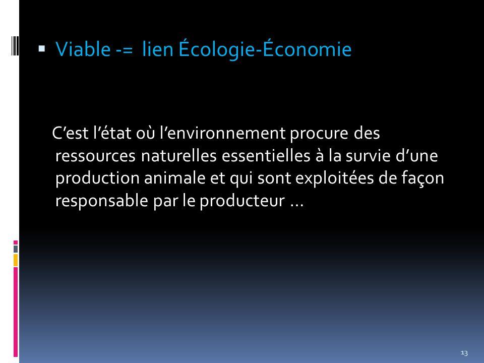  Viable -= lien Écologie-Économie C'est l'état où l'environnement procure des ressources naturelles essentielles à la survie d'une production animale et qui sont exploitées de façon responsable par le producteur … 13