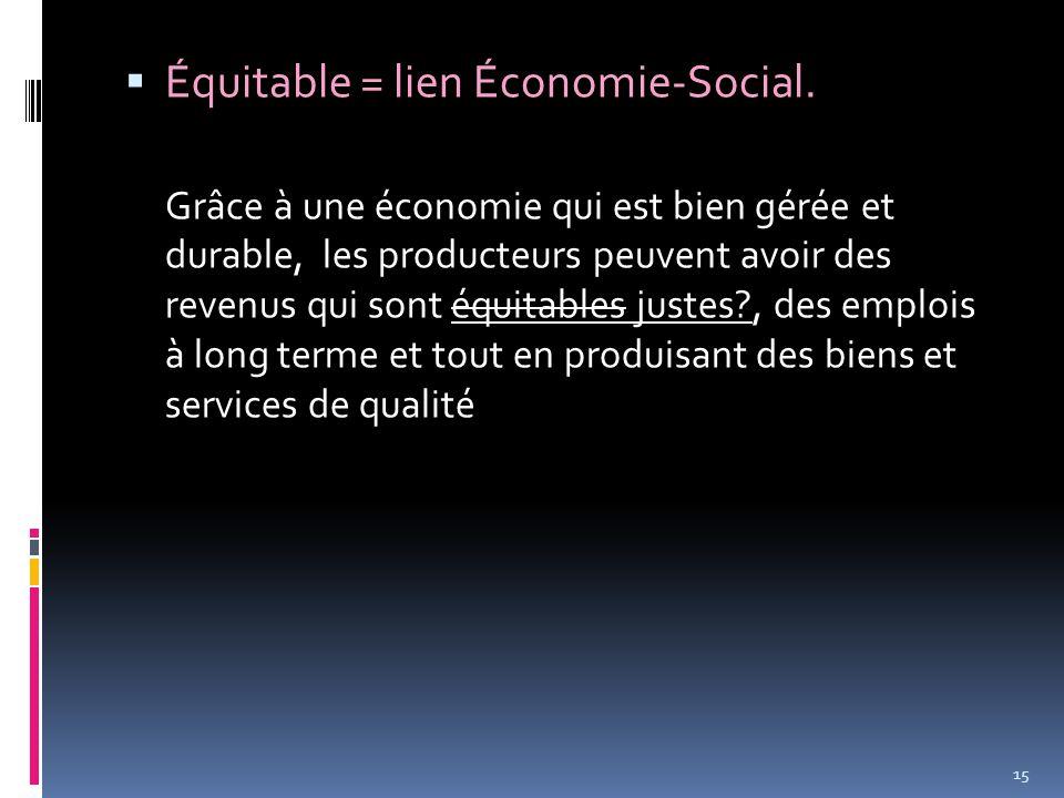  Équitable = lien Économie-Social.