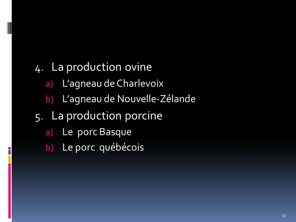 4. La production ovine a) L'agneau de Charlevoix b) L'agneau de Nouvelle-Zélande 5.