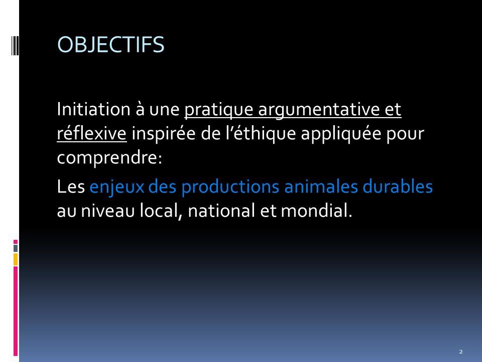 OBJECTIFS Initiation à une pratique argumentative et réflexive inspirée de l'éthique appliquée pour comprendre: Les enjeux des productions animales durables au niveau local, national et mondial.