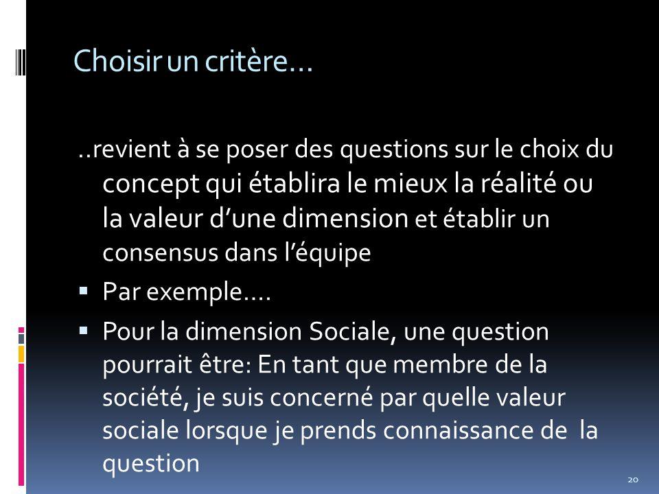 Choisir un critère…..revient à se poser des questions sur le choix du concept qui établira le mieux la réalité ou la valeur d'une dimension et établir un consensus dans l'équipe  Par exemple….