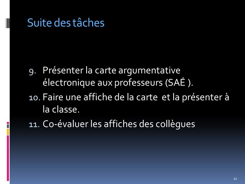 Suite des tâches 9. Présenter la carte argumentative électronique aux professeurs (SAÉ ).