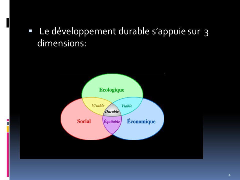  Le développement durable s'appuie sur 3 dimensions: 4