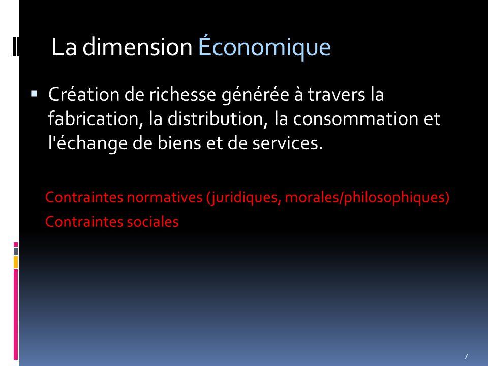 La dimension Économique  Création de richesse générée à travers la fabrication, la distribution, la consommation et l échange de biens et de services.