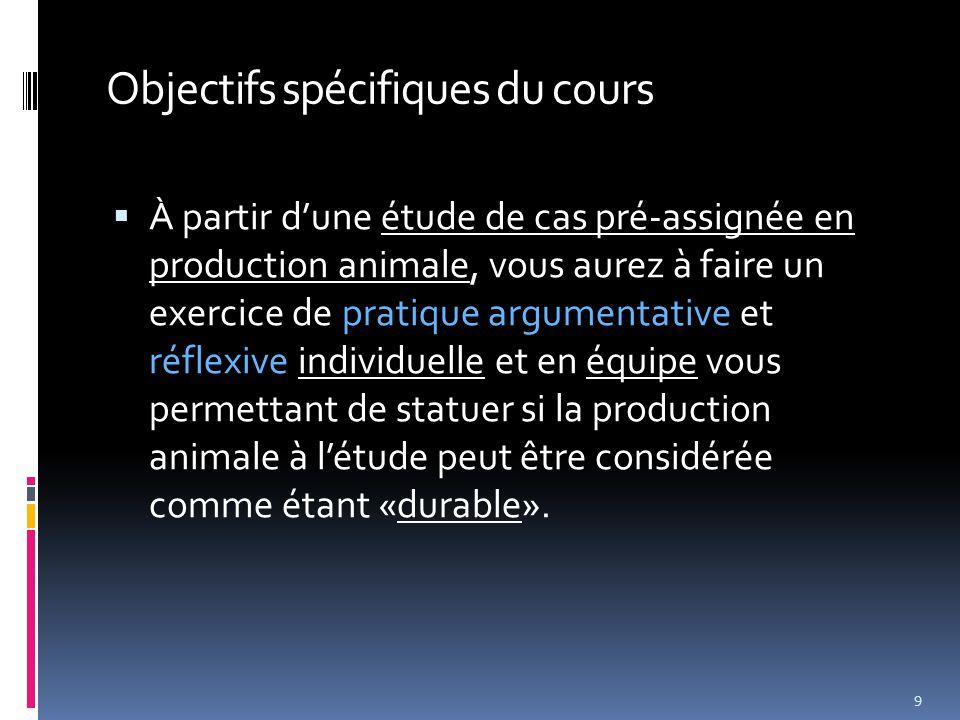 Objectifs spécifiques du cours  À partir d'une étude de cas pré-assignée en production animale, vous aurez à faire un exercice de pratique argumentative et réflexive individuelle et en équipe vous permettant de statuer si la production animale à l'étude peut être considérée comme étant «durable».