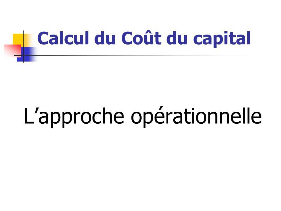Calcul du Coût du capital L'approche opérationnelle