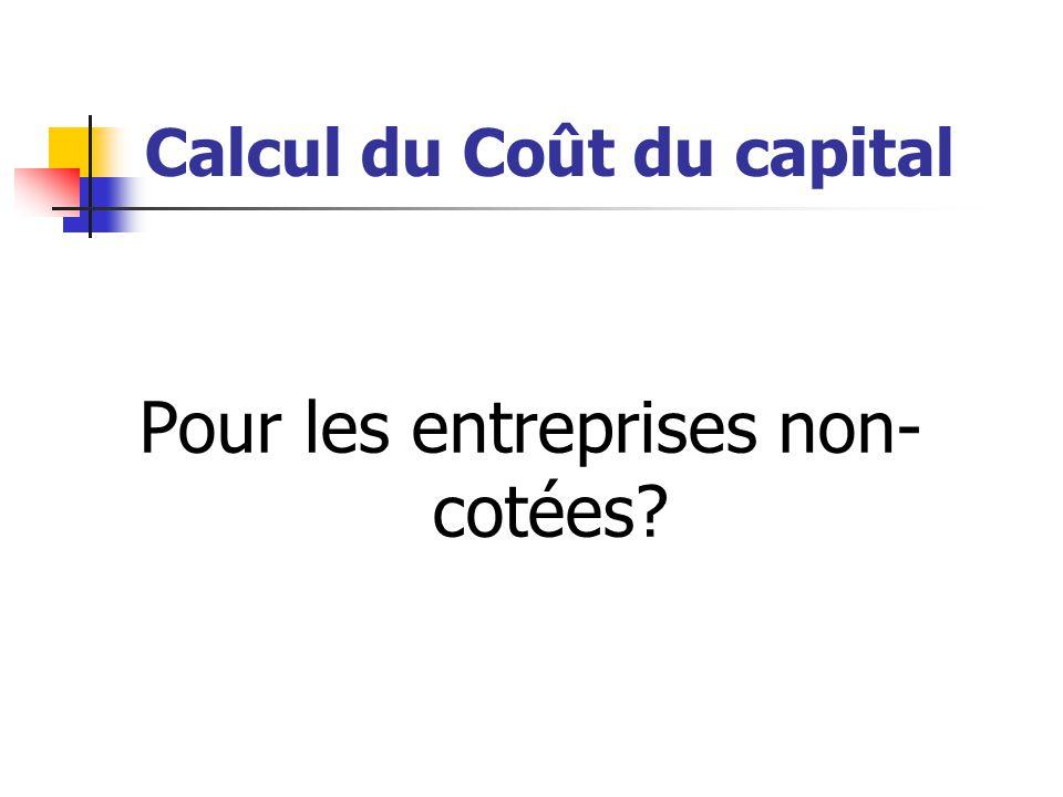 Calcul du Coût du capital Pour les entreprises non- cotées?