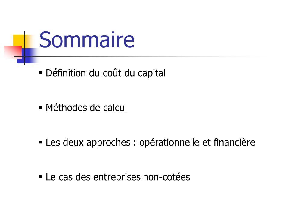Sommaire  Définition du coût du capital  Méthodes de calcul  Les deux approches : opérationnelle et financière  Le cas des entreprises non-cotées
