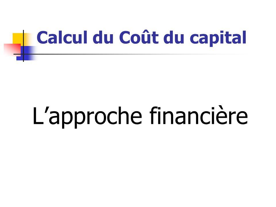 Calcul du Coût du capital L'approche financière