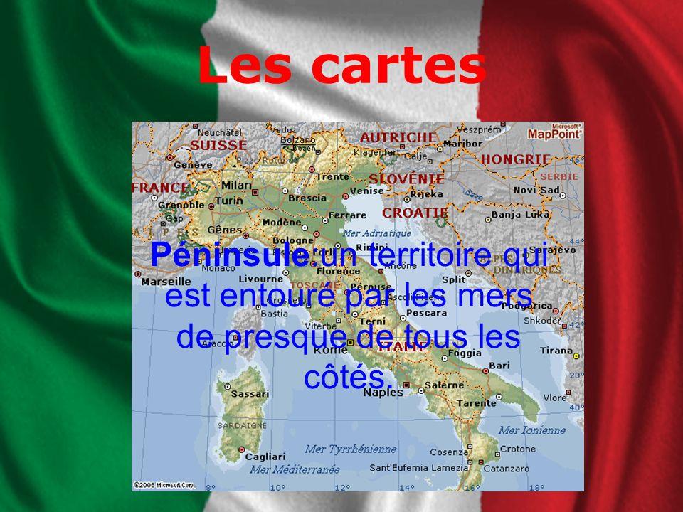 Les cartes Péninsule:un territoire qui est entouré par les mers de presque de tous les côtés.