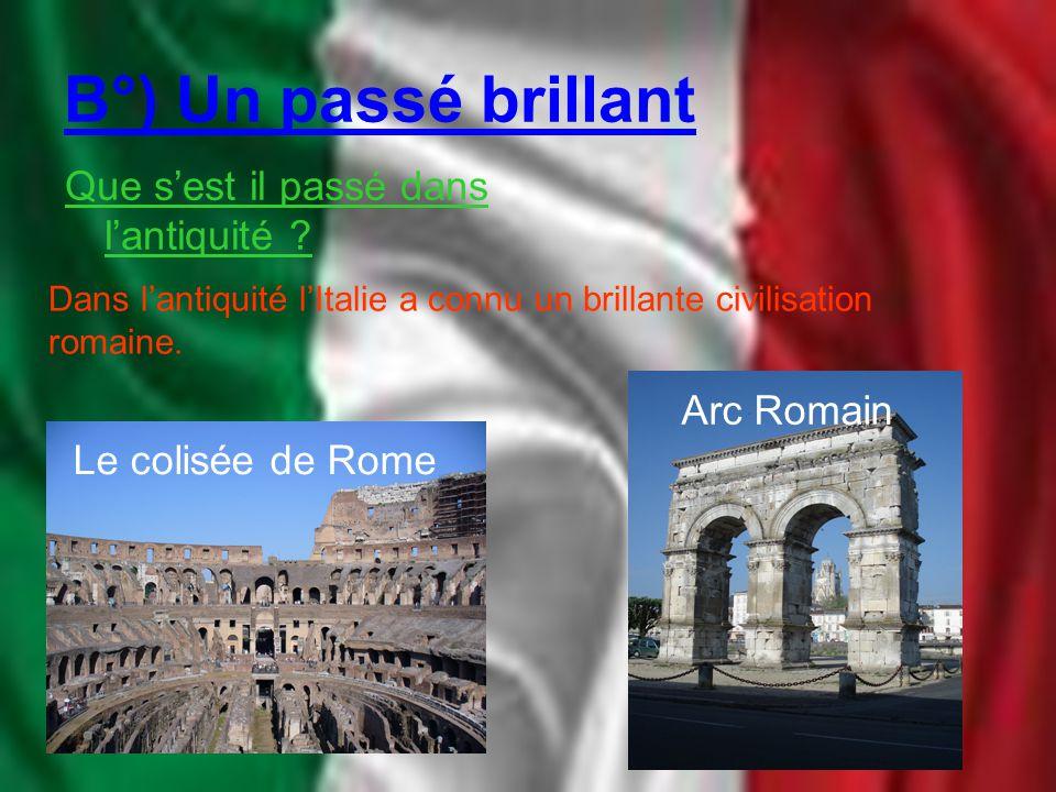 B°) Un passé brillant Que s'est il passé dans l'antiquité ? Dans l'antiquité l'Italie a connu un brillante civilisation romaine. Le colisée de Rome Ar