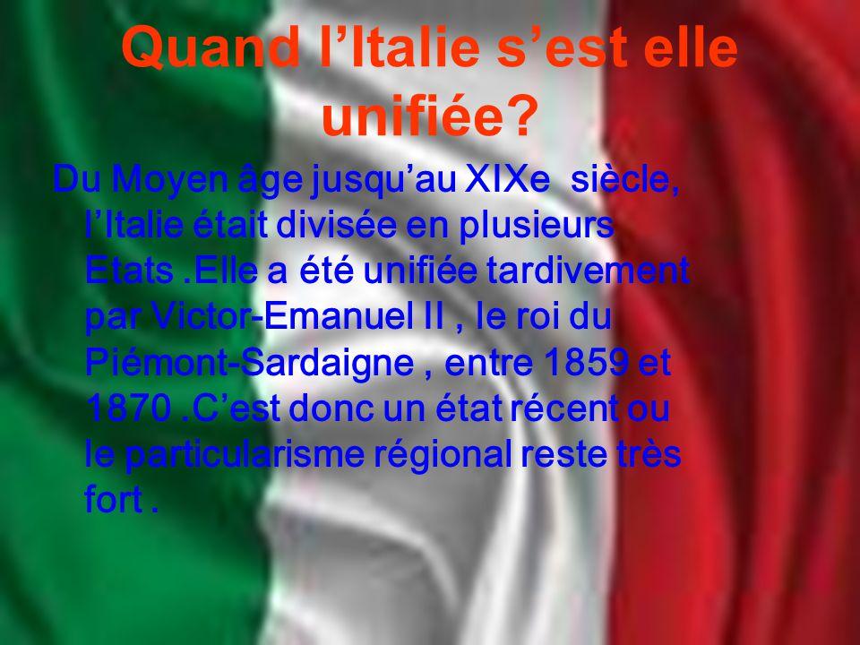 Quand l'Italie s'est elle unifiée? Du Moyen âge jusqu'au XIXe siècle, l'Italie était divisée en plusieurs Etats.Elle a été unifiée tardivement par Vic