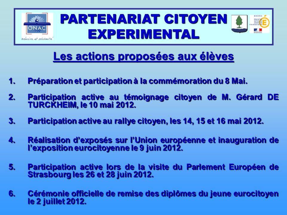 Les actions proposées aux élèves 1.Préparation et participation à la commémoration du 8 Mai. 2.Participation active au témoignage citoyen de M. Gérard