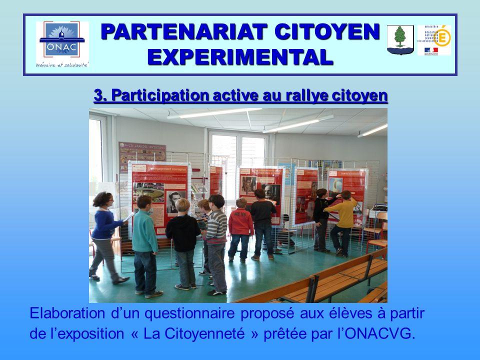 PARTENARIAT CITOYEN EXPERIMENTAL 3. Participation active au rallye citoyen Elaboration d'un questionnaire proposé aux élèves à partir de l'exposition