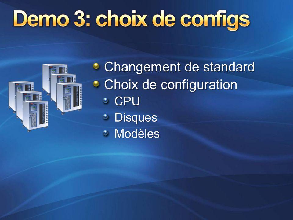 Changement de standard Choix de configuration CPUDisquesModèles
