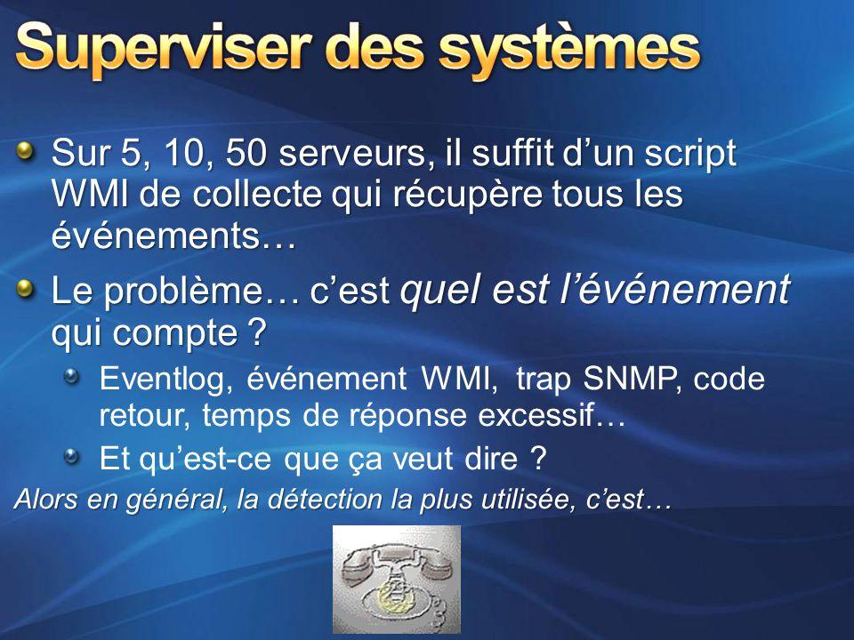 Sur 5, 10, 50 serveurs, il suffit d'un script WMI de collecte qui récupère tous les événements… Le problème… c'est quel est l'événement qui compte ? E