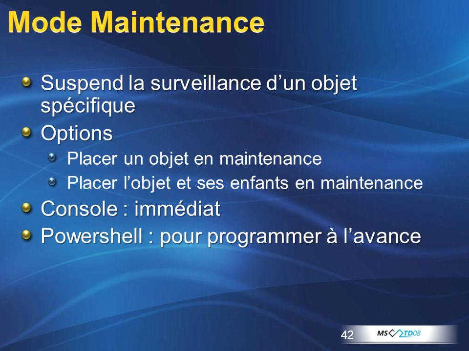 Suspend la surveillance d'un objet spécifique Options Placer un objet en maintenance Placer l'objet et ses enfants en maintenance Console : immédiat P