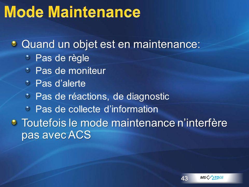 Quand un objet est en maintenance: Pas de règle Pas de moniteur Pas d'alerte Pas de réactions, de diagnostic Pas de collecte d'information Toutefois l