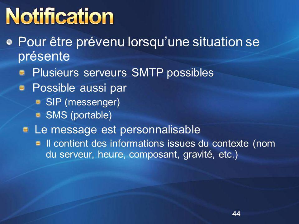Pour être prévenu lorsqu'une situation se présente Plusieurs serveurs SMTP possibles Possible aussi par SIP (messenger) SMS (portable) Le message est
