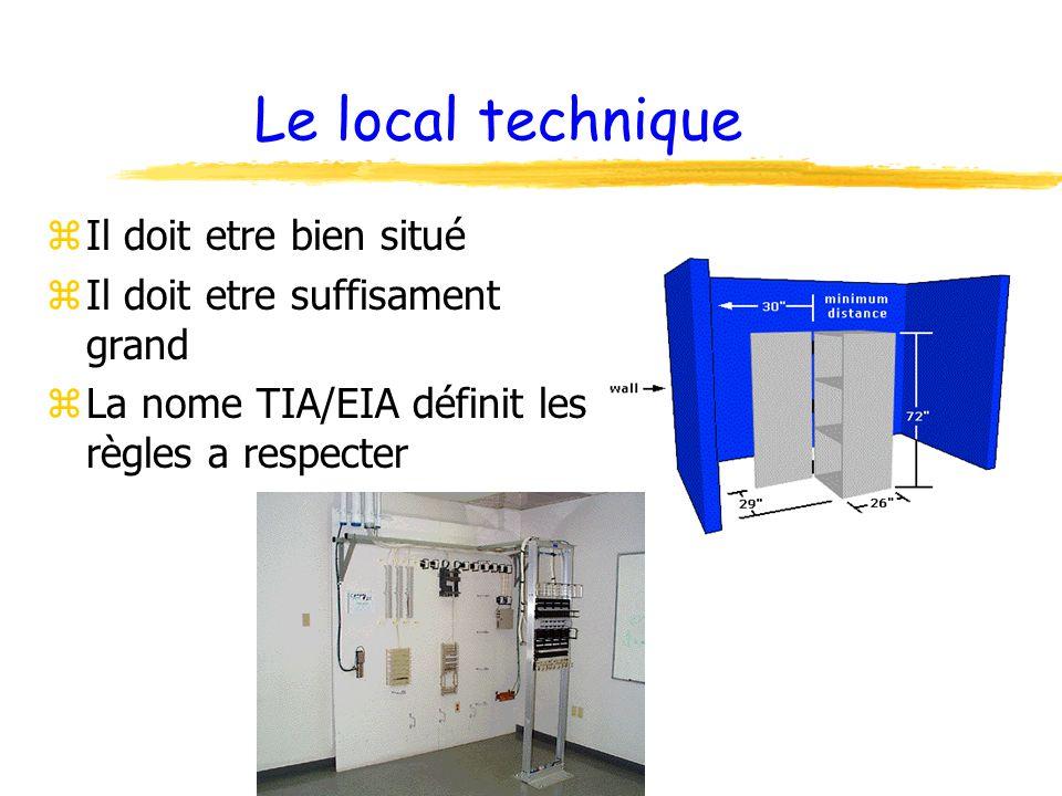 Le local technique zIl doit etre bien situé zIl doit etre suffisament grand zLa nome TIA/EIA définit les règles a respecter