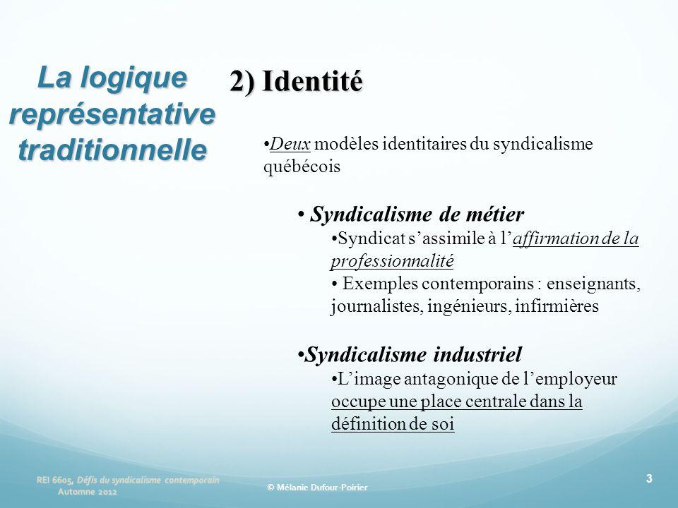 3 2) Identité •Deux modèles identitaires du syndicalisme québécois • Syndicalisme de métier •Syndicat s'assimile à l'affirmation de la professionnalit