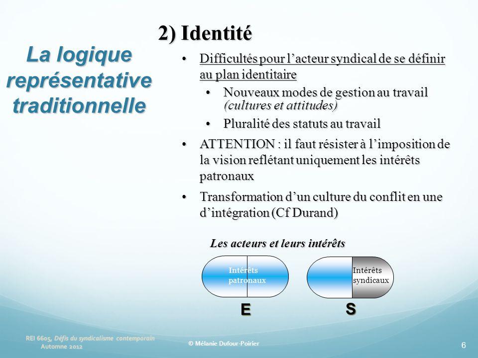 6 2) Identité •Difficultés pour l'acteur syndical de se définir au plan identitaire •Nouveaux modes de gestion au travail (cultures et attitudes) •Plu